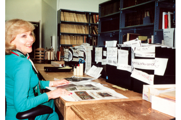 Lillian Michelson in the Lillian Michelson Research Library at Paramount Studios in 1996 in Daniel Raim's HAROLD AND LILLIAN: A HOLLYWOOD LOVE STORY. A Zeitgeist Films release. Photo: Adama Films / Zeitgeist Films. For hi-res version click on photo then c